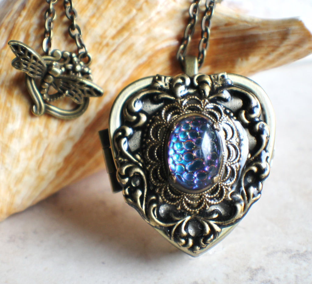 Music box locket, heart locket with music box inside, in bronze with lacey edge floral heart and German helio cabochon. - Char's Favorite Things - 1