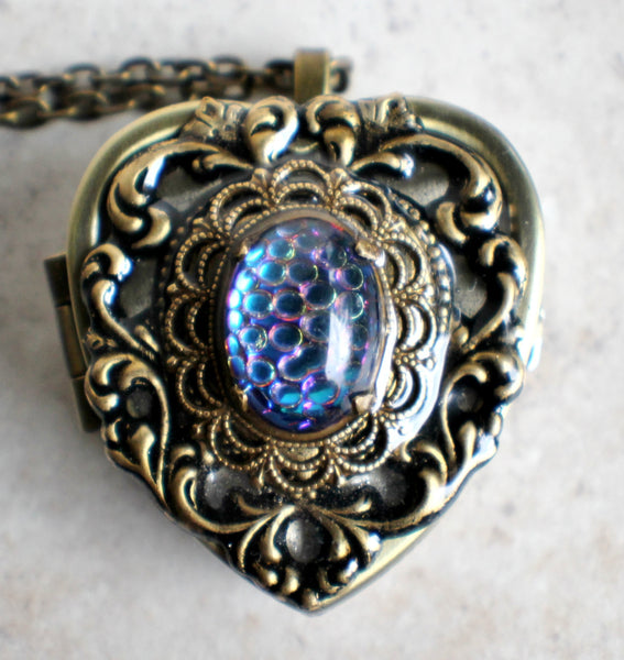 Music box locket, heart locket with music box inside, in bronze with lacey edge floral heart and German helio cabochon. - Char's Favorite Things - 2