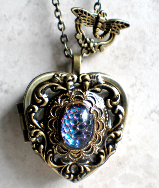Music box locket, heart locket with music box inside, in bronze with lacey edge floral heart and German helio cabochon. - Char's Favorite Things - 4