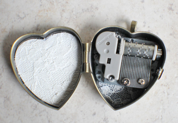Music box locket, heart locket with music box inside, in bronze with lacey edge floral heart and German helio cabochon. - Char's Favorite Things - 5