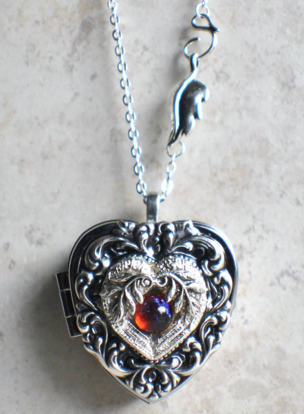 Music box locket, heart locket with music box inside, in silver tone with floral heart, angel wings and dragons breath opal cabochon. - Char's Favorite Things - 4
