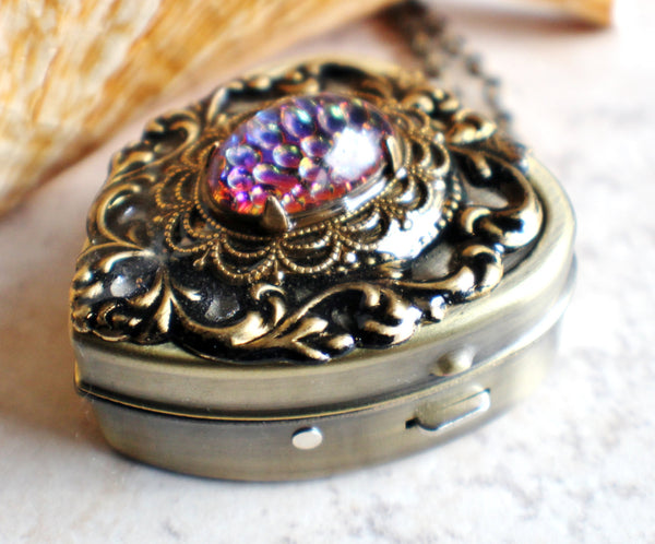 Music box locket, heart locket with music box inside, in bronze with lacey edge floral heart and German helio cabochon. - Char's Favorite Things - 3