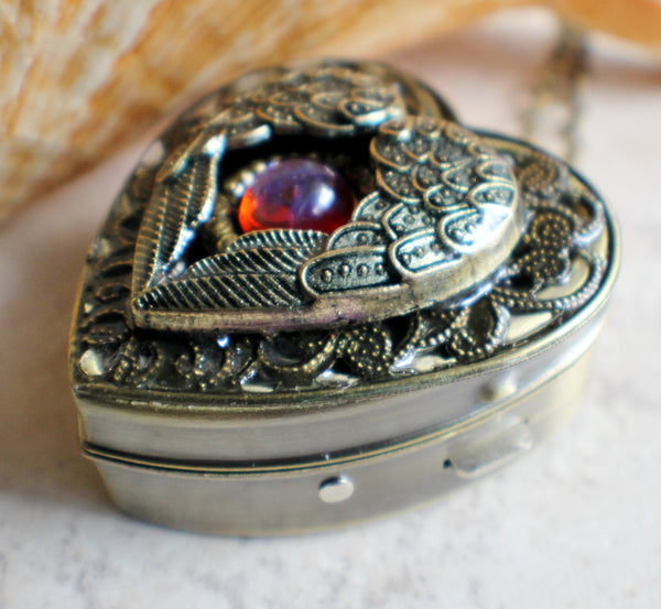 Angel wing music box locket, heart locket with music box inside with dragons breath cabochon. - Char's Favorite Things - 2