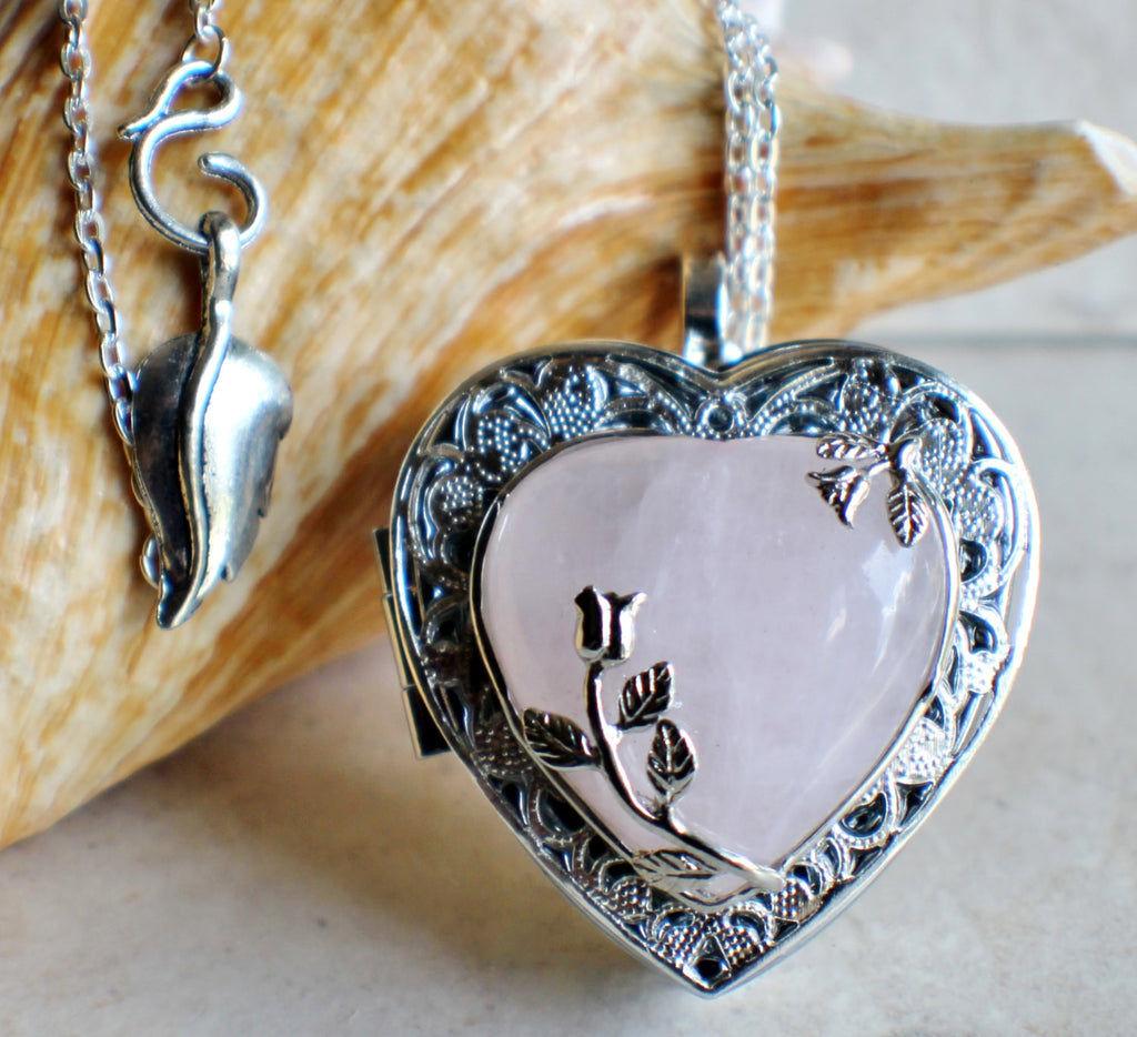 Music box locket in silver tone with rose quartz crystal heart. - Char's Favorite Things - 1