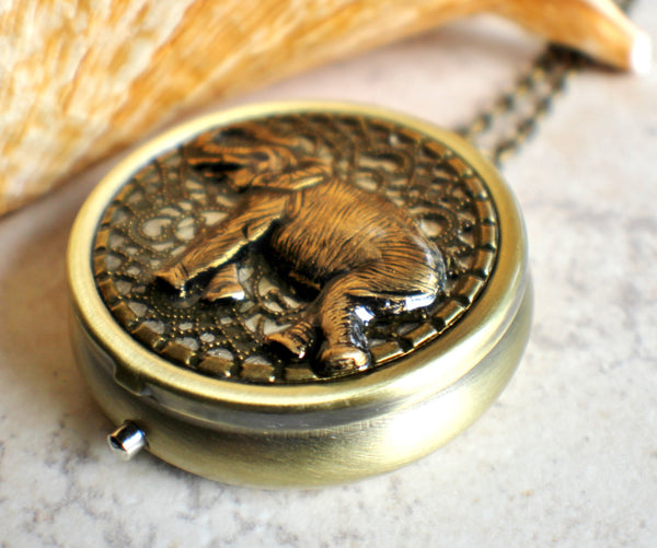 Elephant music box locket, round  locket with music box inside. - Char's Favorite Things - 2