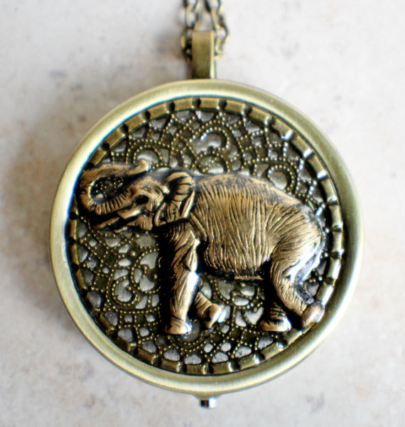 Elephant music box locket, round  locket with music box inside. - Char's Favorite Things - 3
