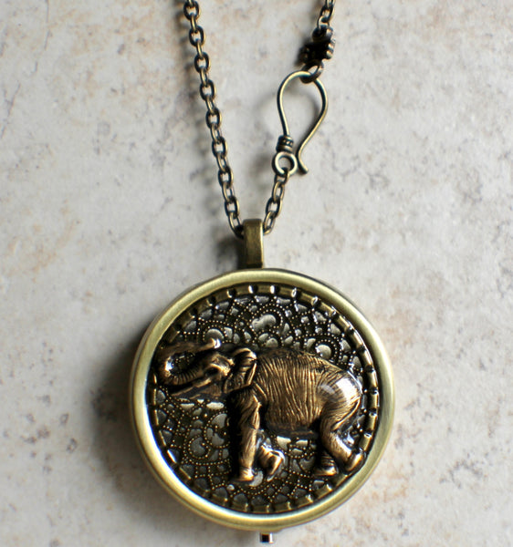 Elephant music box locket, round  locket with music box inside. - Char's Favorite Things - 4