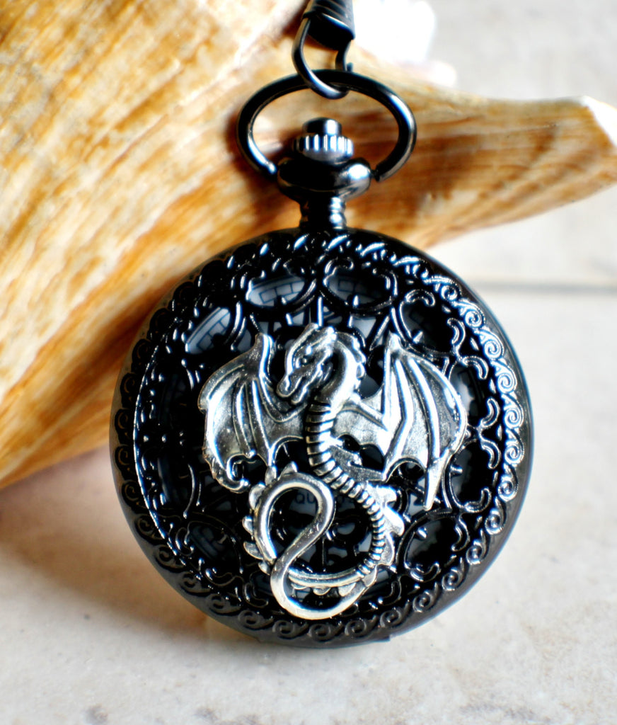 Silver dragon pocket watch, men's black pocket watch with silver dragon. - Char's Favorite Things - 1