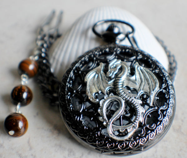 Silver dragon pocket watch, men's black pocket watch with silver dragon. - Char's Favorite Things - 3