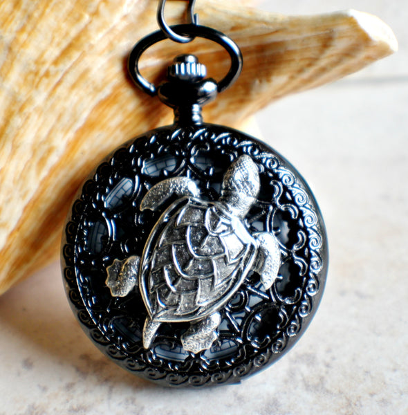 Turtle pocket watch battery operated in black. - Char's Favorite Things - 1