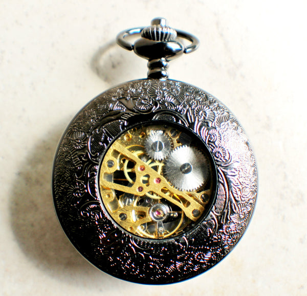 Bronze lion pocket watch, mechanical pocket watch in black. - Char's Favorite Things - 5