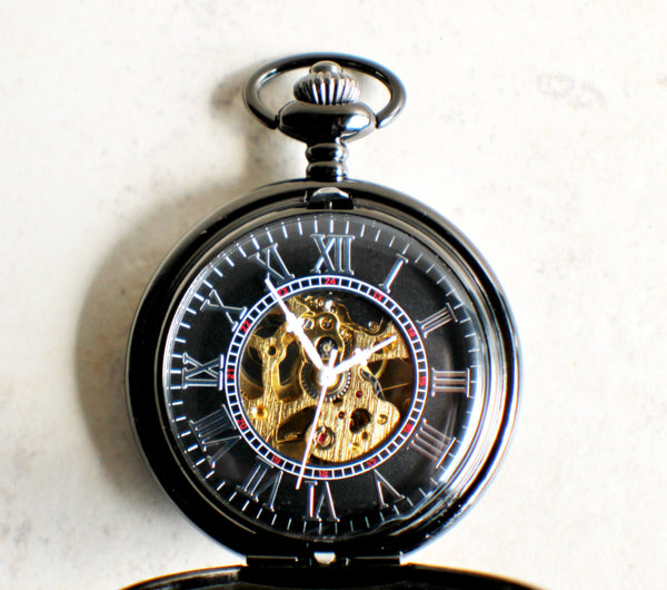 Bronze lion pocket watch, mechanical pocket watch in black. - Char's Favorite Things - 4