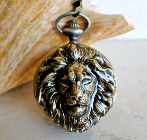Lion Head Battery Operated Pocket Watch - Char's Favorite Things - 1