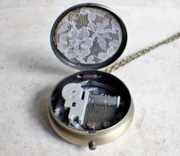 Victorian music  box locket, round bronze locket with music box inside. - Char's Favorite Things - 5