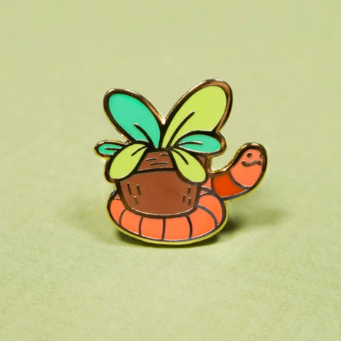 Earthworm Enamel Pin