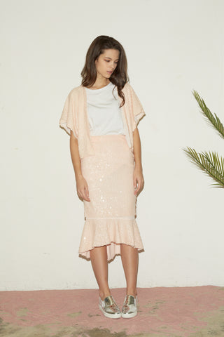 Londoncloud pink spangled cropped cardigan and layered skirt