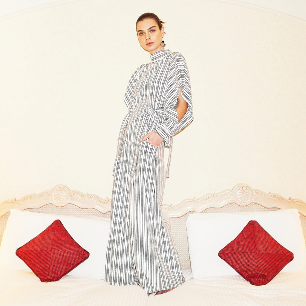 Striped Knit Slit Culottes