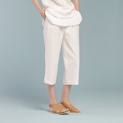 Square Cotton Wide Cropped Pants