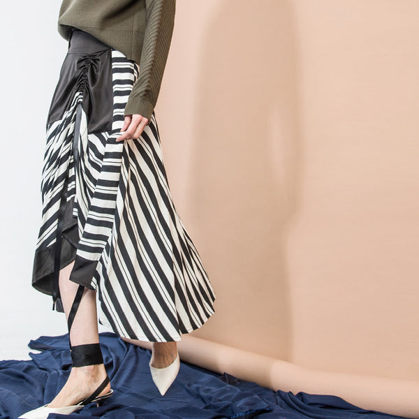 Black Striped Ruched Skirt