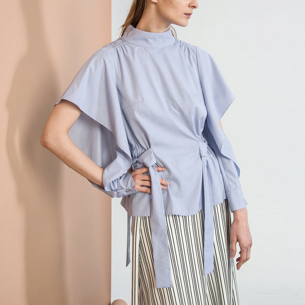 Blue Strap Flared Sleeved Top
