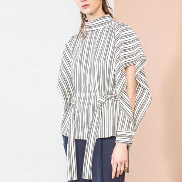 Striped Knit Flared Sleeved Top