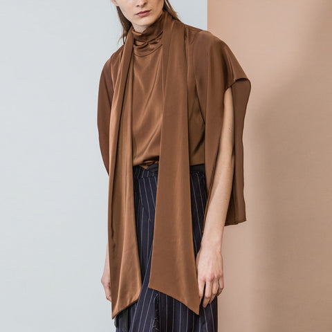 Brown Tie Neck Blouse