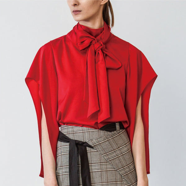 Red Tie Neck Blouse