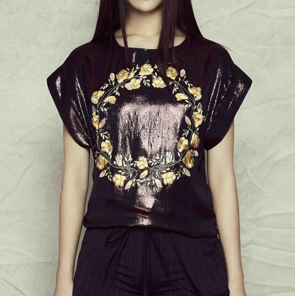 Fu Metallic Embroidered Top