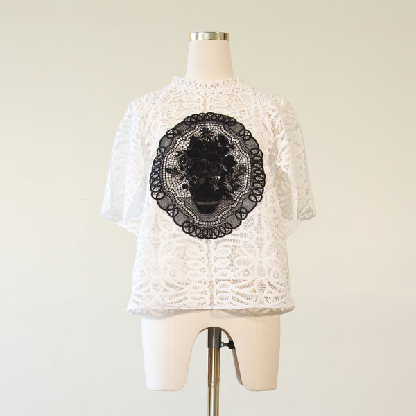 Guipere Lace Applique Blouse