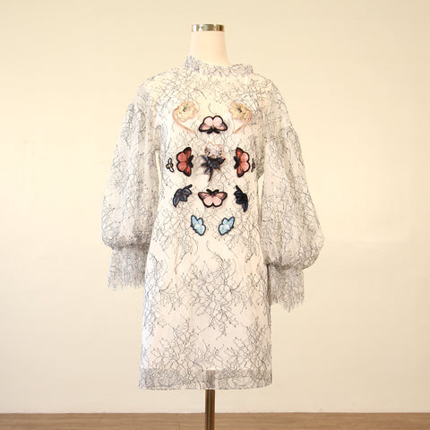 Bell Sleeve Lace Dress with Applique