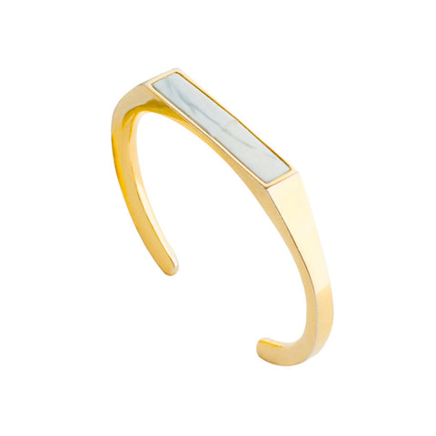 Angled Marble Gold Cuff