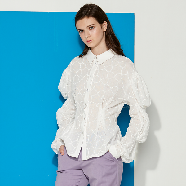Embroidery Blouse with puff sleeves