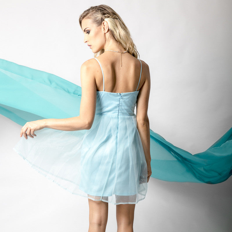 Aqua Organza Pleated Dress