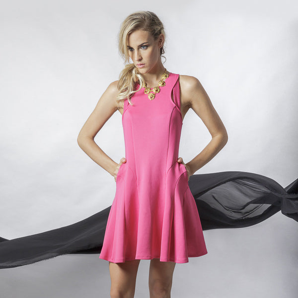 Circular Godet Scuba Skater Dress