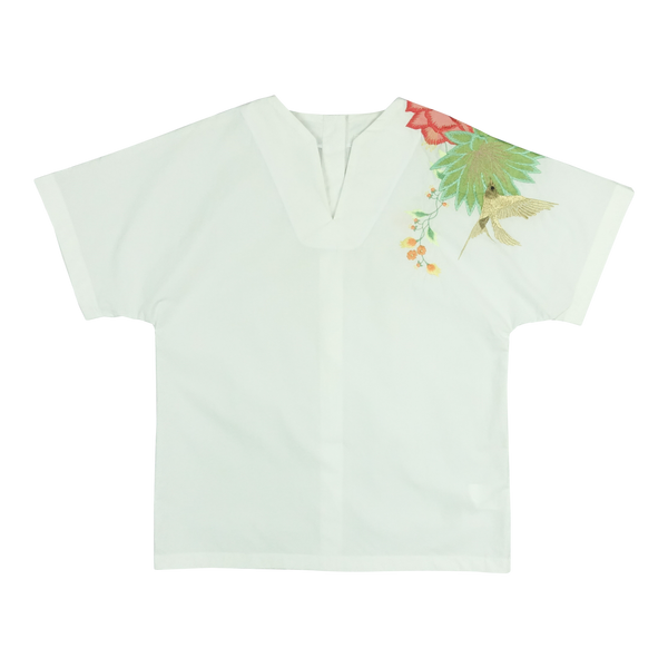 White Cotton Top with Embroidery
