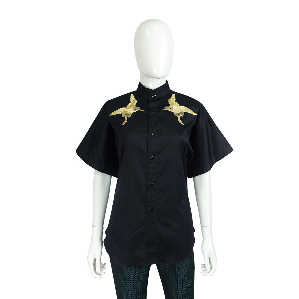 Button-down Shirt with Embroidery