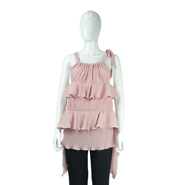 Tiered Pleated Top in Pink