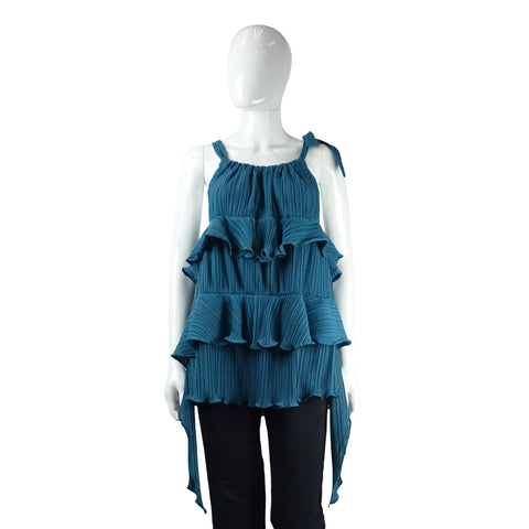Tiered Pleated Top in Blue-Green