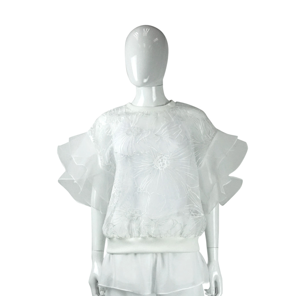 Embroidered Top with Flutter Sleeve in White