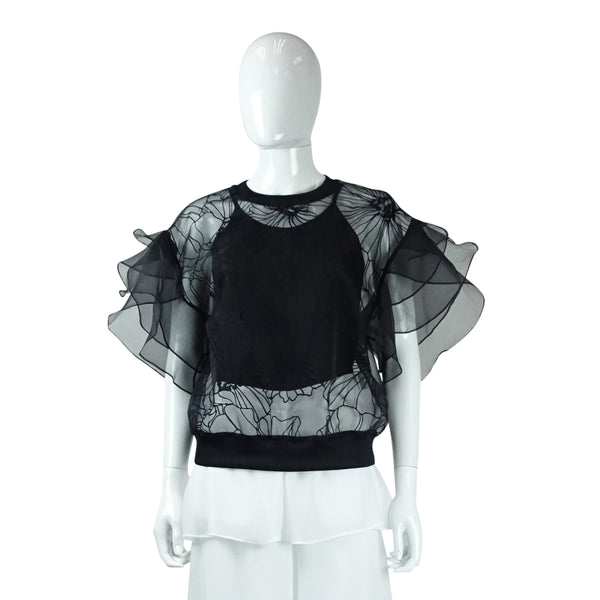 Embroidered Top with Flutter Sleeve in Black