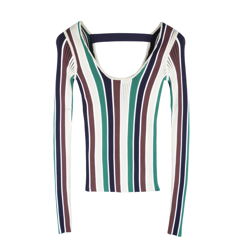 Alexa Multicolour Ribbed Wide-neck Top
