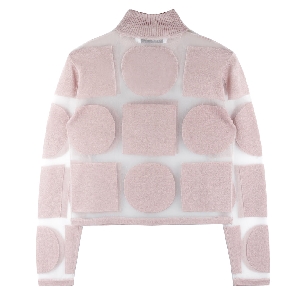 Aria Graphic Sheer Turtleneck - Pink