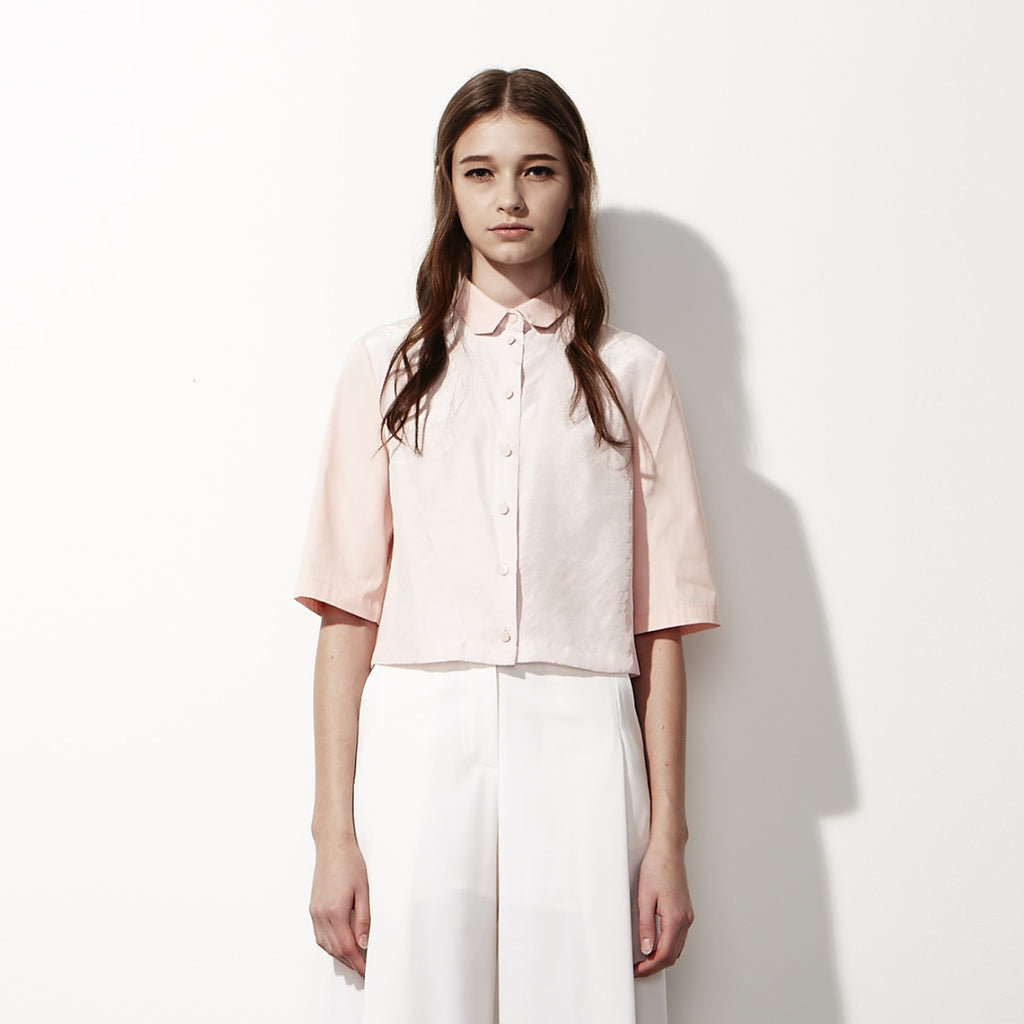 Cropped Button-down Shirt - Pink