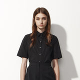 Cropped Button-down Shirt - Black