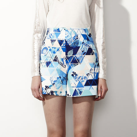 High-Waisted Printed Shorts