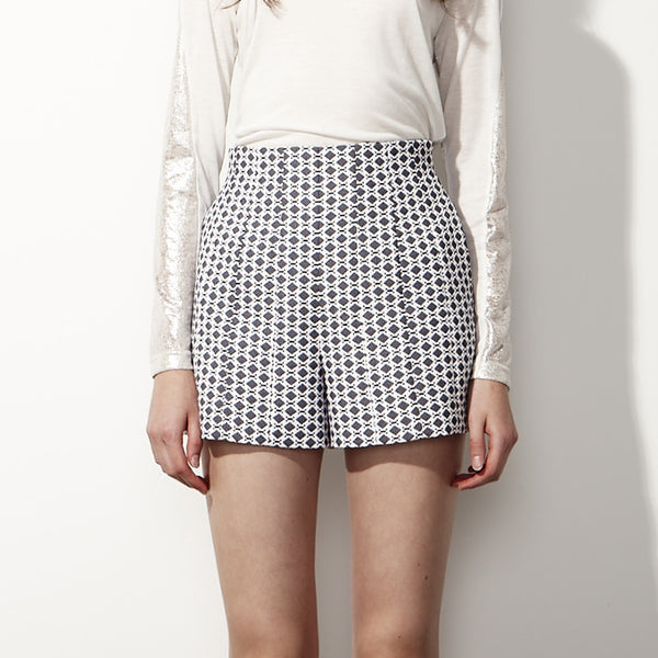 Jacquard High-Waisted Shorts