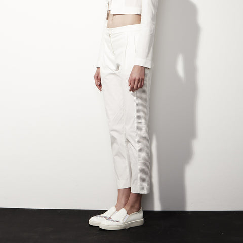Cropped Cotton Pants with Net Panel in White