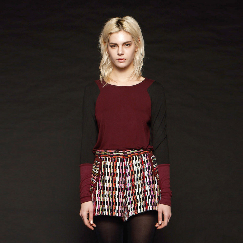 Savoy Daily Basic Top with Contrasting Sleeves
