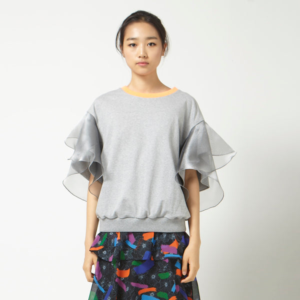 Casual Top with Flutter Sleeves in Grey