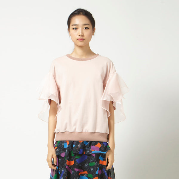 Casual Top with Flutter Sleeves in Pink